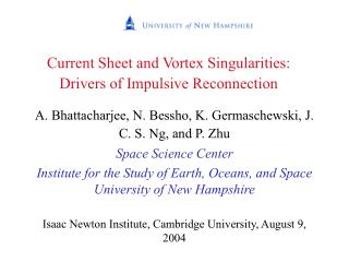 Current Sheet and Vortex Singularities: Drivers of Impulsive Reconnection