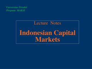 Lecture   Notes Indonesian Capital Markets
