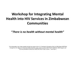 Workshop for Integrating Mental Health into HIV Services in Zimbabwean Communities