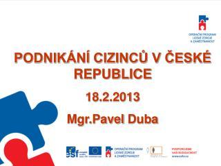 PODNIKÁNÍ CIZINCŮ V ČESKÉ REPUBLICE  18.2.2013 Mgr.Pavel  Duba