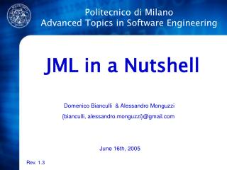 Politecnico di Milano Advanced Topics in Software Engineering