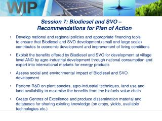 Session 7: Biodiesel and SVO –  Recommendations for Plan of Action