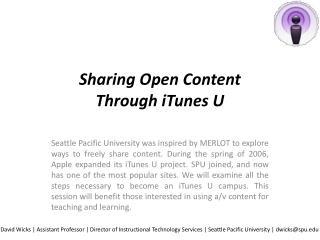 Sharing Open Content  Through iTunes U