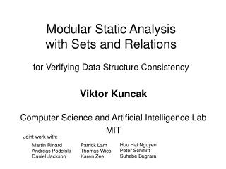 Modular Static Analysis with Sets and Relations for Verifying Data Structure Consistency