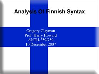 Analysis Of Finnish Syntax