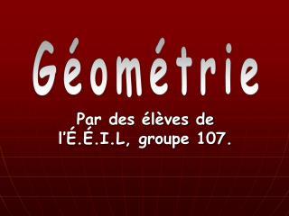 Par des élèves de l'É.É.I.L, groupe 107.