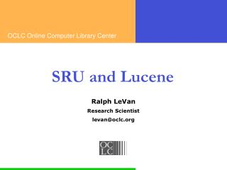 SRU and Lucene