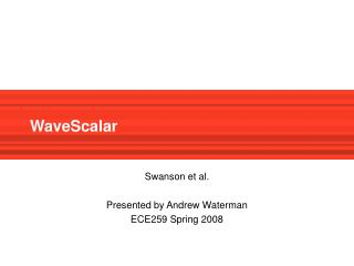 WaveScalar