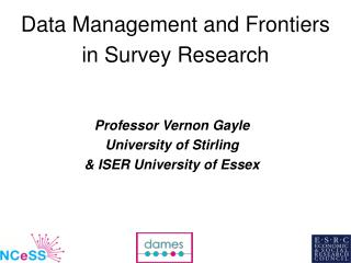 Data Management and Frontiers in Survey Research