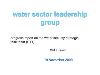 water sector leadership group
