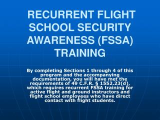 RECURRENT FLIGHT SCHOOL SECURITY AWARENESS FSSA TRAINING