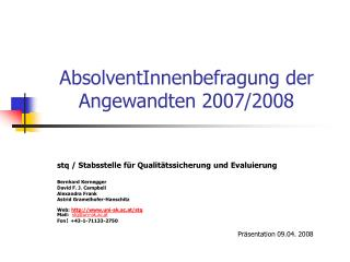 AbsolventInnenbefragung der Angewandten 2007/2008