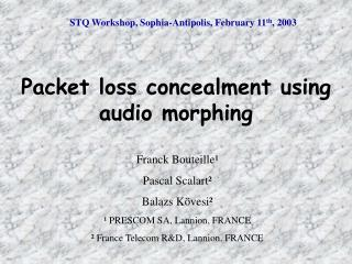 STQ Workshop,  Sophia-Antipolis, February 11 th , 2003