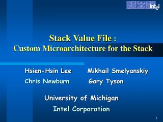 Stack Value File  :  Custom Microarchitecture for the Stack