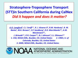 Stratosphere-Troposphere Transport (STT)in Southern California during CalNex