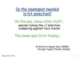 Is the beamspot needed in hit selection?