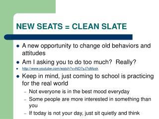 NEW SEATS = CLEAN SLATE