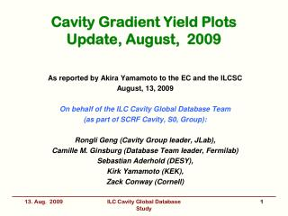 Cavity Gradient Yield Plots Update, August,  2009