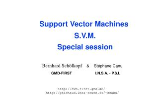 Support Vector Machines  S.V.M. Special session