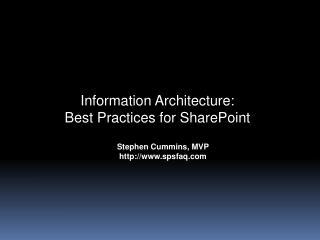 Stephen Cummins, MVP spsfaq