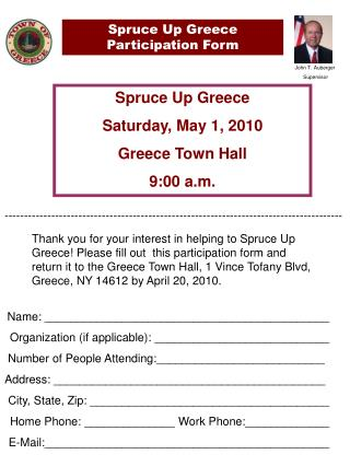 Spruce Up Greece Participation Form