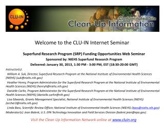 Welcome to the CLU-IN Internet Seminar
