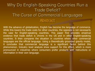Why Do English-Speaking Countries Run a  Trade Deficit The Curse of Commercial Languages
