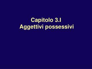 Capitolo 3.I   Aggettivi possessivi