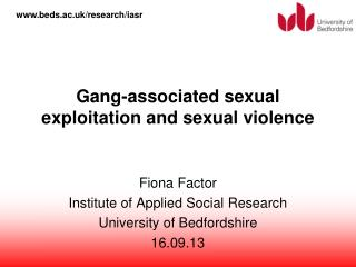 Gang-associated sexual exploitation and sexual violence