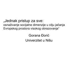 Gorana Đorić  Univerzitet u Nišu