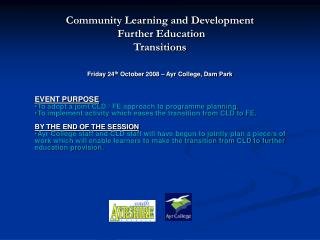 Community Learning and Development  Further Education  Transitions