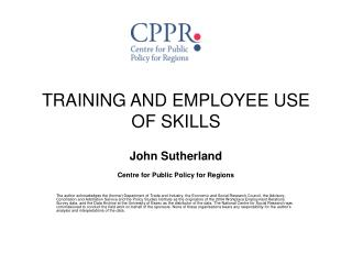 TRAINING AND EMPLOYEE USE OF SKILLS