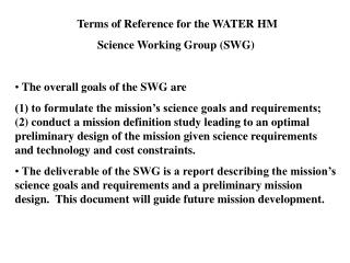 Terms of Reference for the WATER HM  Science Working Group (SWG)