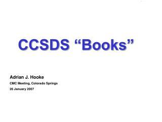"""CCSDS """"Books"""""""