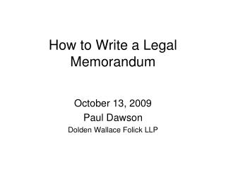 How to Write a Legal Memorandum