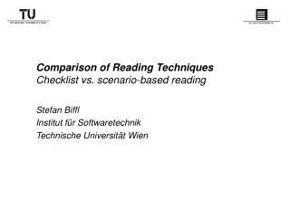 Comparison of Reading Techniques  Checklist vs. scenario-based reading