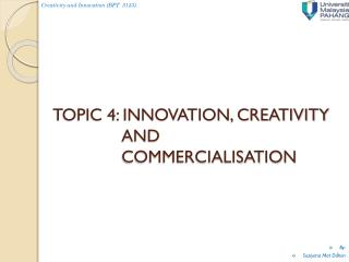 TOPIC 4: INNOVATION, CREATIVITY AND COMMERCIALISATION