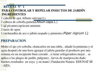RECETA  Nº  1 PARA CONTROLAR Y REPELAR INSECTOS DE JARDÍN INGREDIENTES