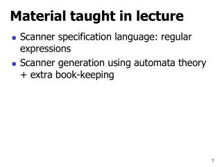 Material taught in lecture