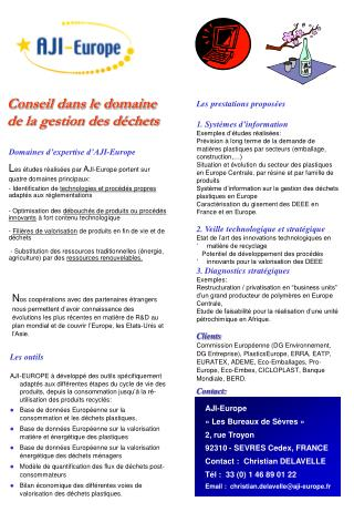 Domaines d'expertise d'AJI-Europe