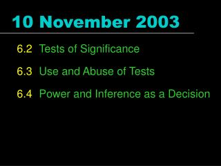 10 November 2003