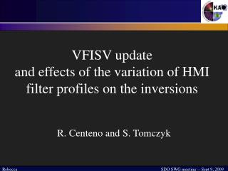 VFISV update  and effects of the variation of HMI filter profiles on the inversions