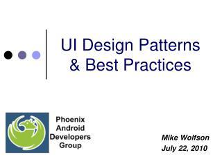 UI Design Patterns & Best Practices