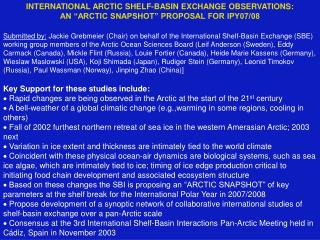 INTERNATIONAL ARCTIC SHELF-BASIN EXCHANGE OBSERVATIONS: