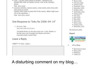 A disturbing comment on my blog…