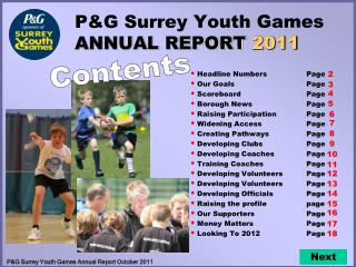 P&G Surrey Youth Games ANNUAL REPORT  2011