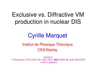 Exclusive vs.  D iffractive VM production in  nuclear  DIS