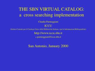 THE SBN VIRTUAL CATALOG: a  cross searching implementation