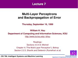 Thursday, September 16, 1999 William H. Hsu Department of Computing and Information Sciences, KSU