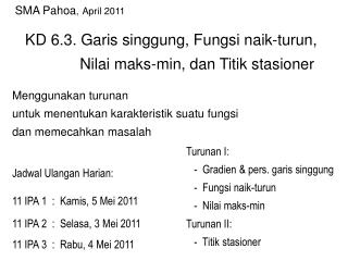 Jadwal Ulangan Harian: 11 IPA 1  :  Kamis, 5 Mei 2011 11 IPA 2  :  Selasa, 3 Mei 2011